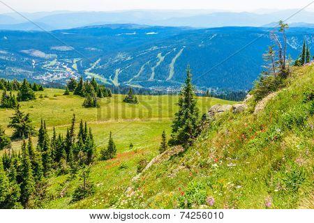 Trail to a mountan summit in British Columbia, Canada.