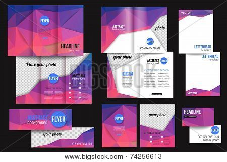 Set of corporate business stationery templates. Abstract brochure design. Modern back and front flye
