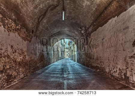 Dark Underpass In The Old Town