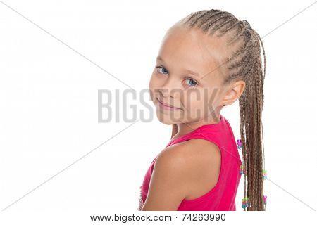 Portrait of charming pretty girl with dreadlocks. Girl six years.