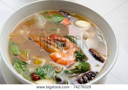 Thai's Tomyam Soup With Prawn In Bowl
