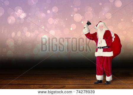 Santa claus ringing bell against shimmering light design over boards poster