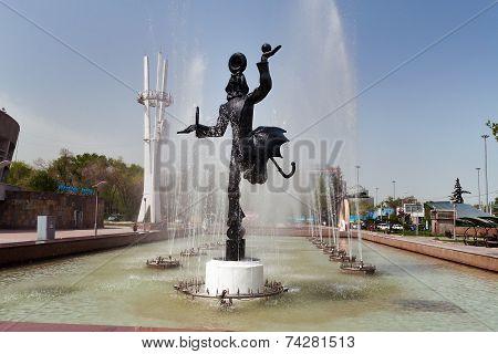 Fountain Near The Circus In Almaty