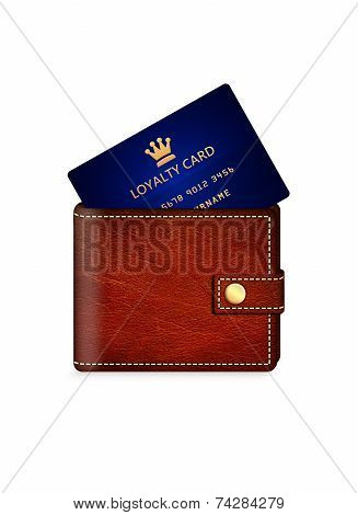Loyalty Card In Wallet Isolated Over White