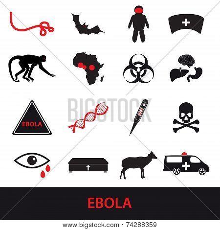 Ebola Disease Icons Set Eps10
