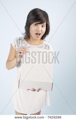 Asian Women Receives A Boxed Surprise