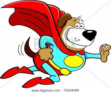 Cartoon Dog Dressed As a Super Hero