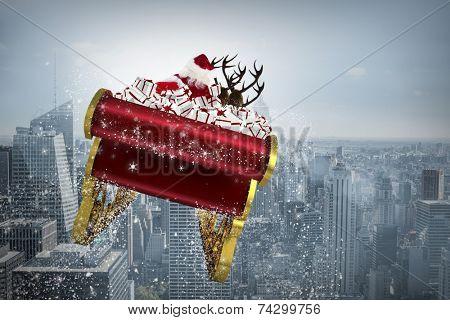 Santa flying his sleigh against cityscape poster