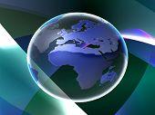3D world globe poster