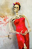 Day of the dead. Traditional mexican catrina skeleton on rough wall poster