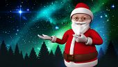 Cute cartoon santa claus against aurora shimmering over forest at night poster