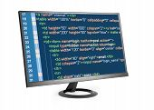 HTML code on computer monitor isolated over white poster