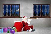 Santa looking through telescope against grey room poster