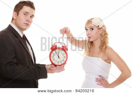 Wedding. Time To Get Married. Bride Groom With Clock.