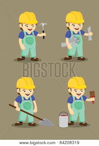Happy Industrial Worker And Tools Vector Illustration