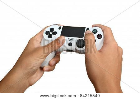 Hand on white Joystick