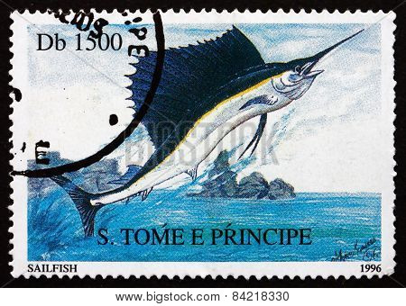 Postage Stamp Sao Tome And Principe 1996 Sailfish, Fish