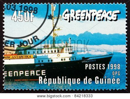 Postage Stamp Guinea 1998 Bow Of Greenpeace Ship