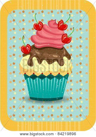 Colored, isolated cupcake with red cherris, dotted background