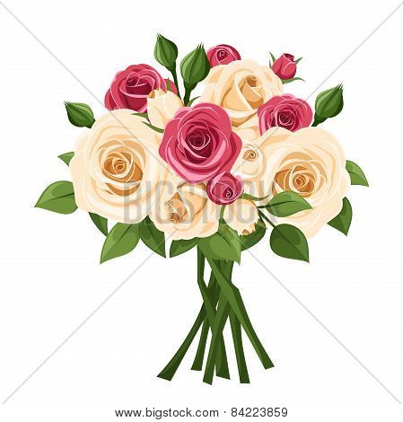 Bouquet of red and white roses. Vector illustration.