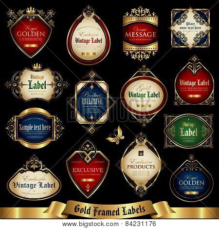 Vector set of colorful gold - framed labels