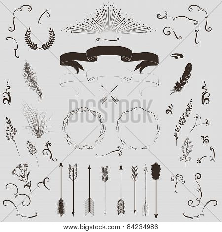 Decorative Elements Set: Arrows, Laurel, Wreath, Feathers, Ribbons And Labels