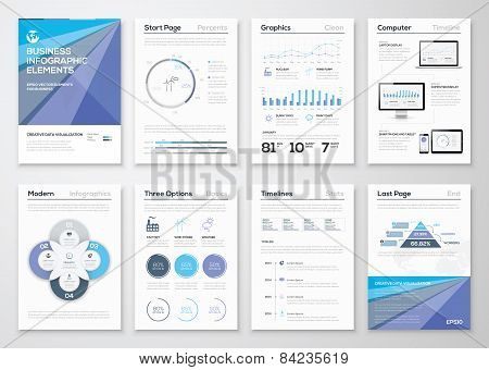 Data visualization brochures and infographic business templates. Use in website, corporate brochure, advertising and marketing. Pie charts, line graphs, bar graphs and timelines. poster