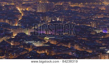 Nightfall In Bilbao, Bizkaia, Basque Country, Spain