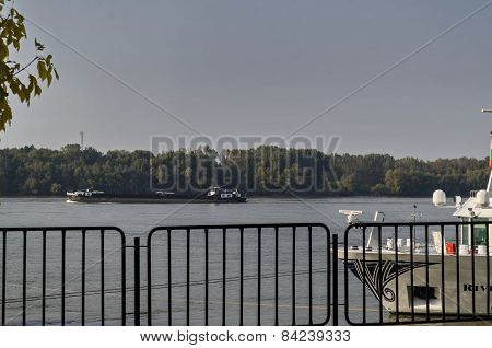 Ship pass along the Ruse port at Danube river