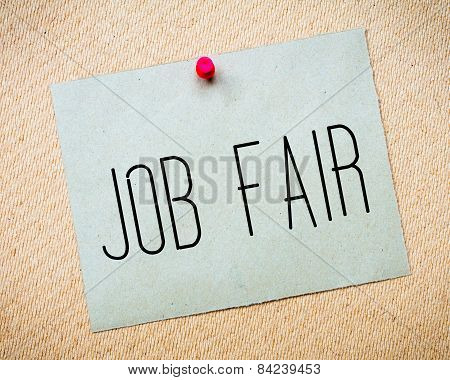 Recycled Paper Note Pinned On Cork Board.job Fair Message. Business Concept Image