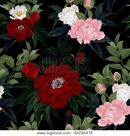 Seamless Floral Pattern With Red, Pink And White Roses On Black Background