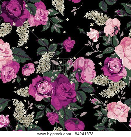Seamless Floral Pattern With Pink Roses On Black Background, Watercolor