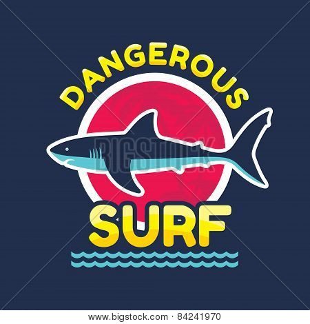 Dangerous surf - vector logo badge for t-shirt and other print production. Shark vector illustration