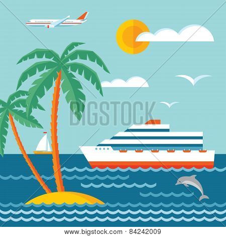 Travel cruise - vector concept illustration in flat style design. Cruise liner, sailboat.