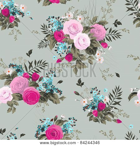Seamless Floral Pattern With Roses On Light Background