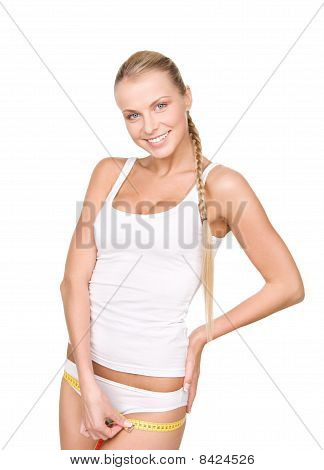 Beautiful Woman With Measure Tape