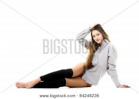 Smiling Gorgeous Model In Shirt And Spats