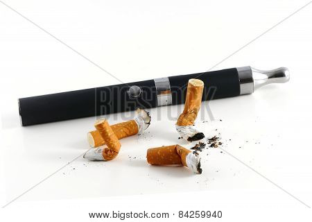 Cigarette Butts And Electric Cigarette Isolated On White Background