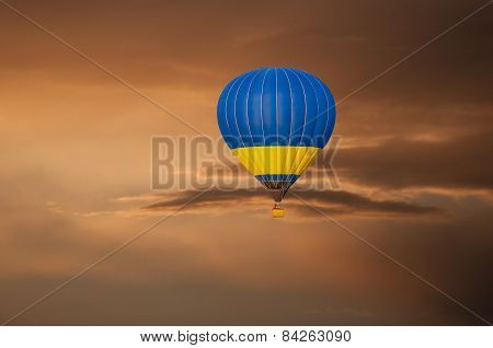 Hot Air Balloons In Flight On Sunset Sky Background. Outdoor, Colorful