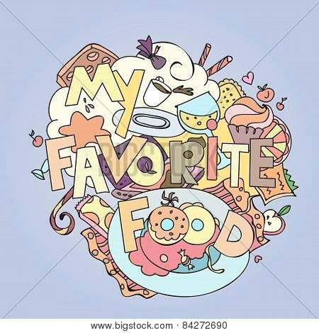 Favorite food confections sweets, cakes and cookies vector illustration