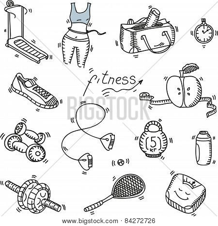 Hand drawn doodle sketch icons set fitness and sport concept healthy nutrition lifestyle, diet. poster