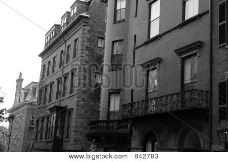 Vintage looking Boston brownstones