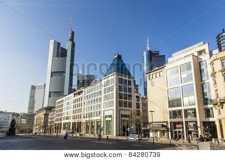 Hauptwache Pplaza And Modern Skyscarpes In Frankfurt Am Main, Germany.