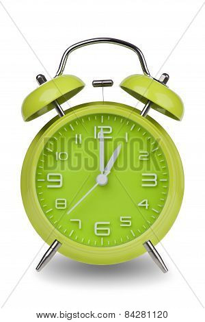 Green Alarm Clock With Hands At 1 Am Or Pm