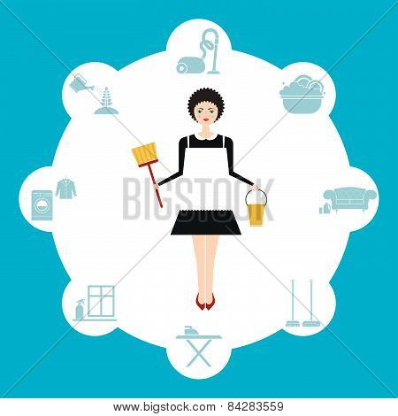 Busy housekeeper simultaneously doing many tasks around the house. House work concept illustration made in vector. Young pretty girl doing house work. Vector character. Illustration of housekeeping agency. poster