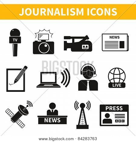 Set of vector journalism icons. Modern flat symbols of journalism including computer, news, reporter, camera, accreditation, pencil and some more. poster