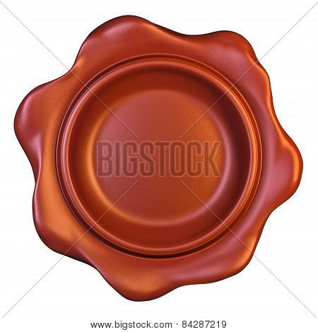 Red seal wax on white background