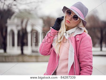 Beautiful Blonde Girl In Hat Outdoors