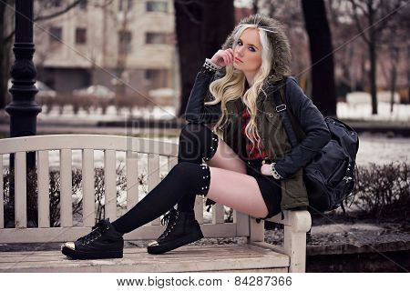 Beautiful Blonde Girl In Posing