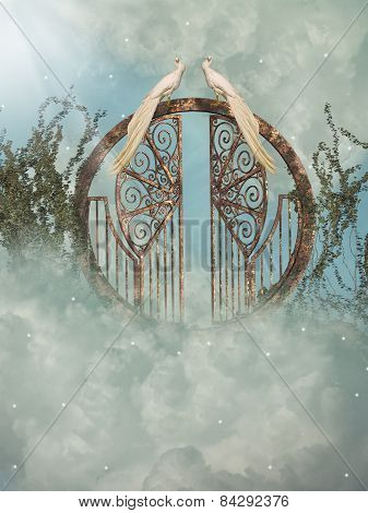 Fantasy landscape in the heaven with gate poster